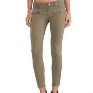 PAIGE Indio Zip Army Green Denim Jeans